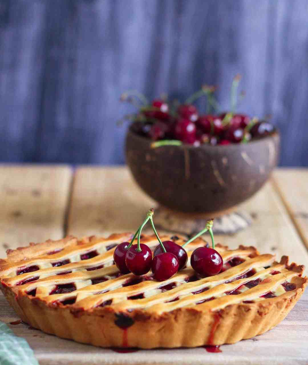 Cherry Pie summer fruits baking easy recipe eggless