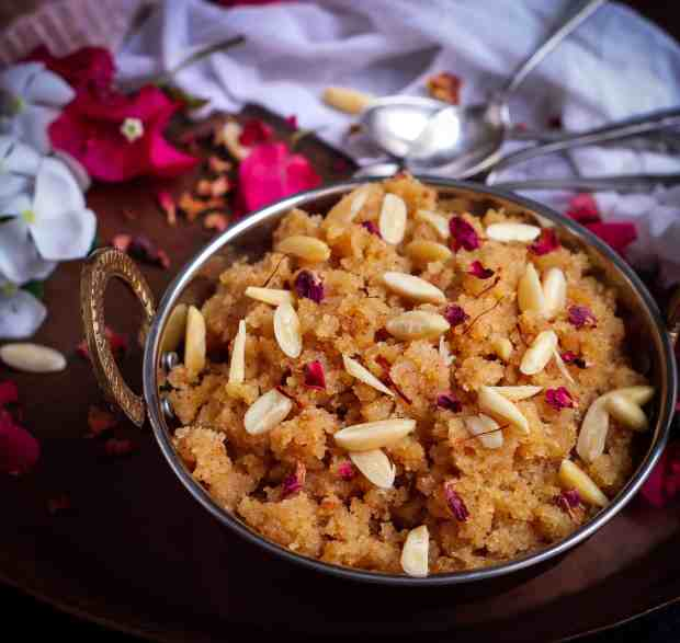 Sooji Badam Halwa Semolina Almond Pudding Indian dessert Festive food |8 Indian Sweets Recipes For Diwali