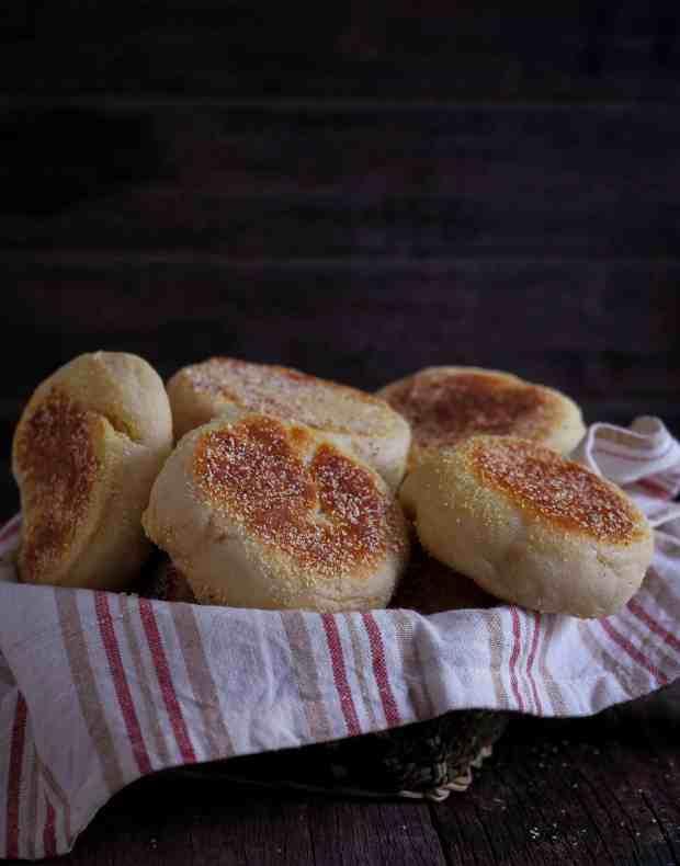 Easy Vegan English Muffins breakfast bread baking