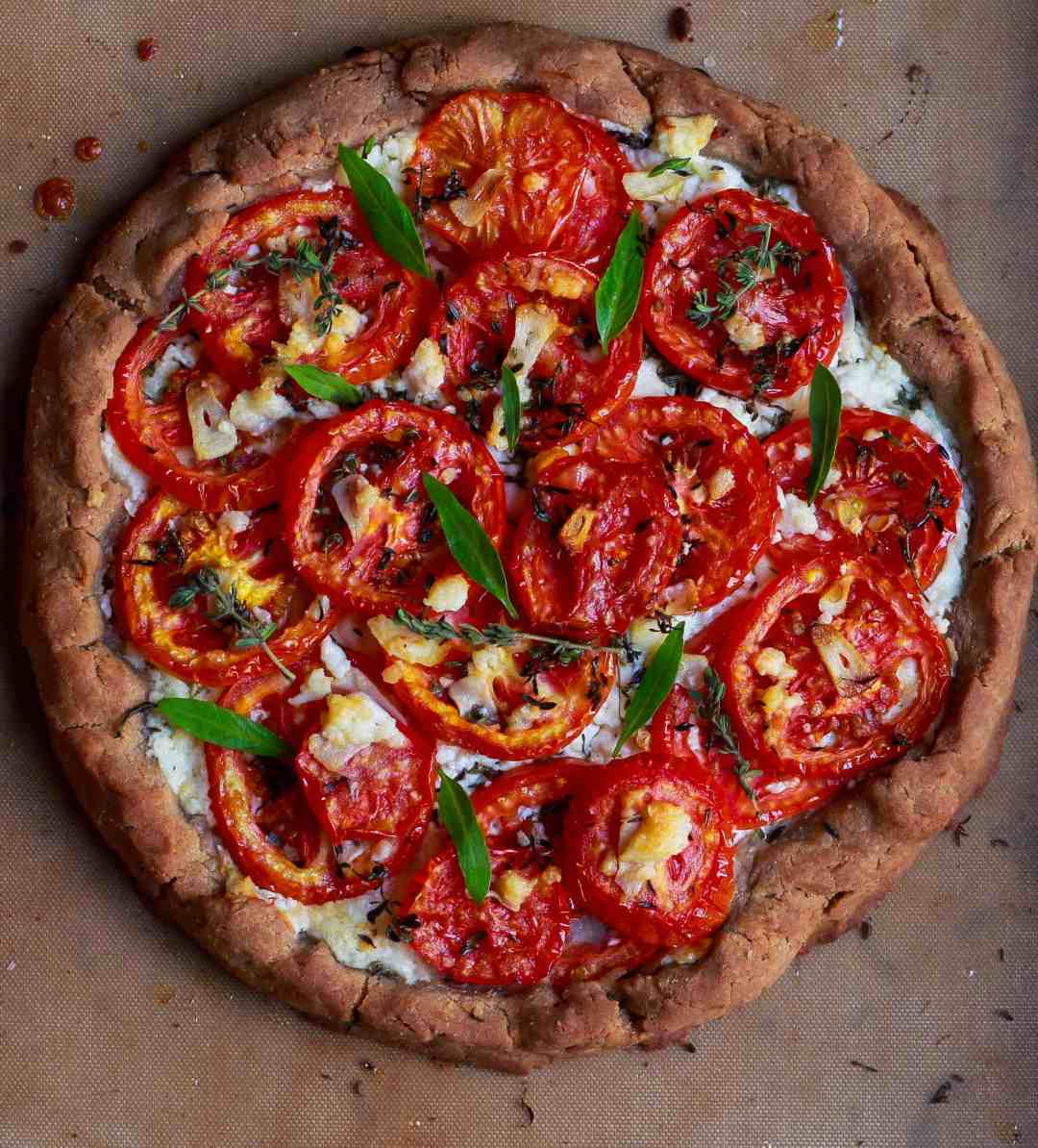 Glutenfree Tomato Feta Tart easy vegetarian recipe
