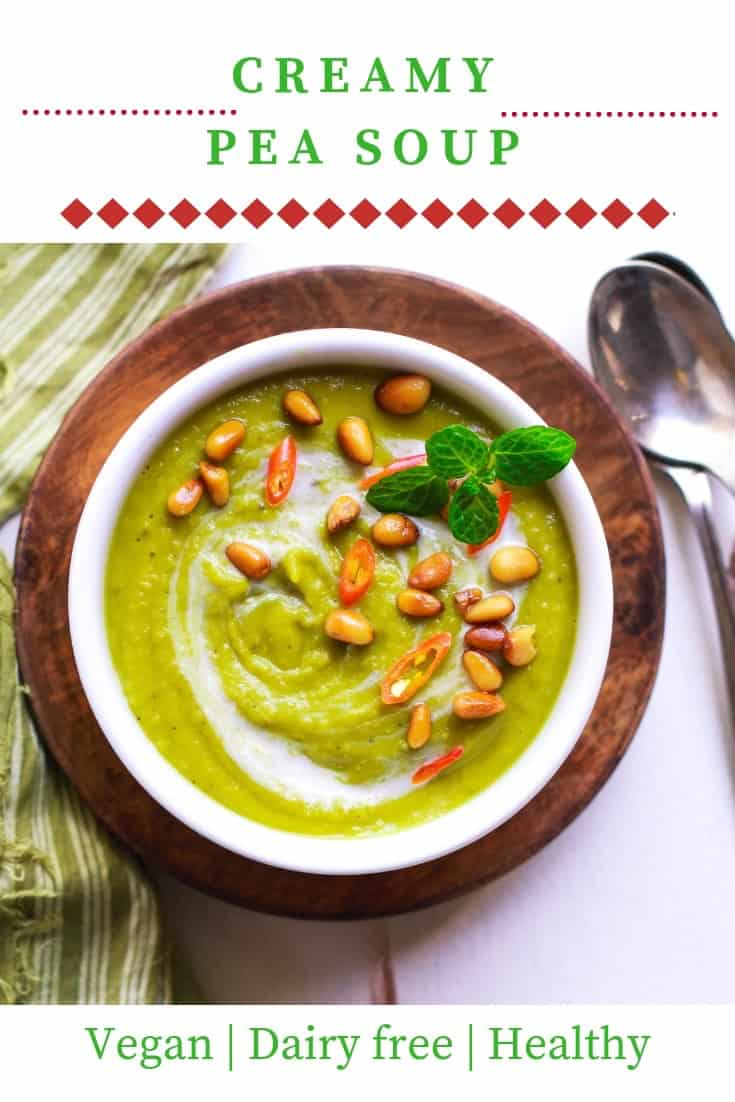 Creamy Pea Soup vegan dairyfree glutenfree healthy easy recipe