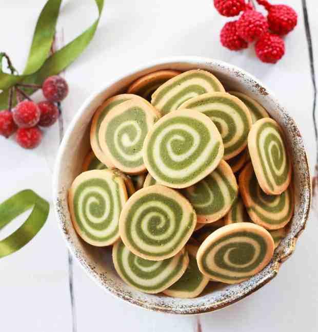 Matcha Pinwheel Cookies Christmas Holiday Festive