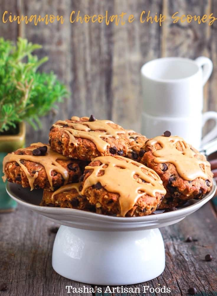 These coffee glazed Cinnamon Chocolate Chip Scones are melt-in-your-mouth good! Sweet and tender with a slight crunch - they are the ultimate tea companion!