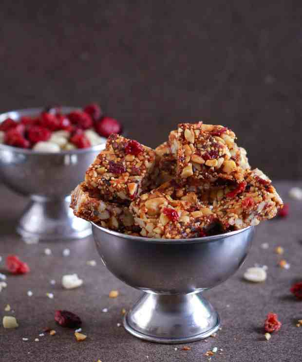Peanut Cranberry Protein Bars healthy snack