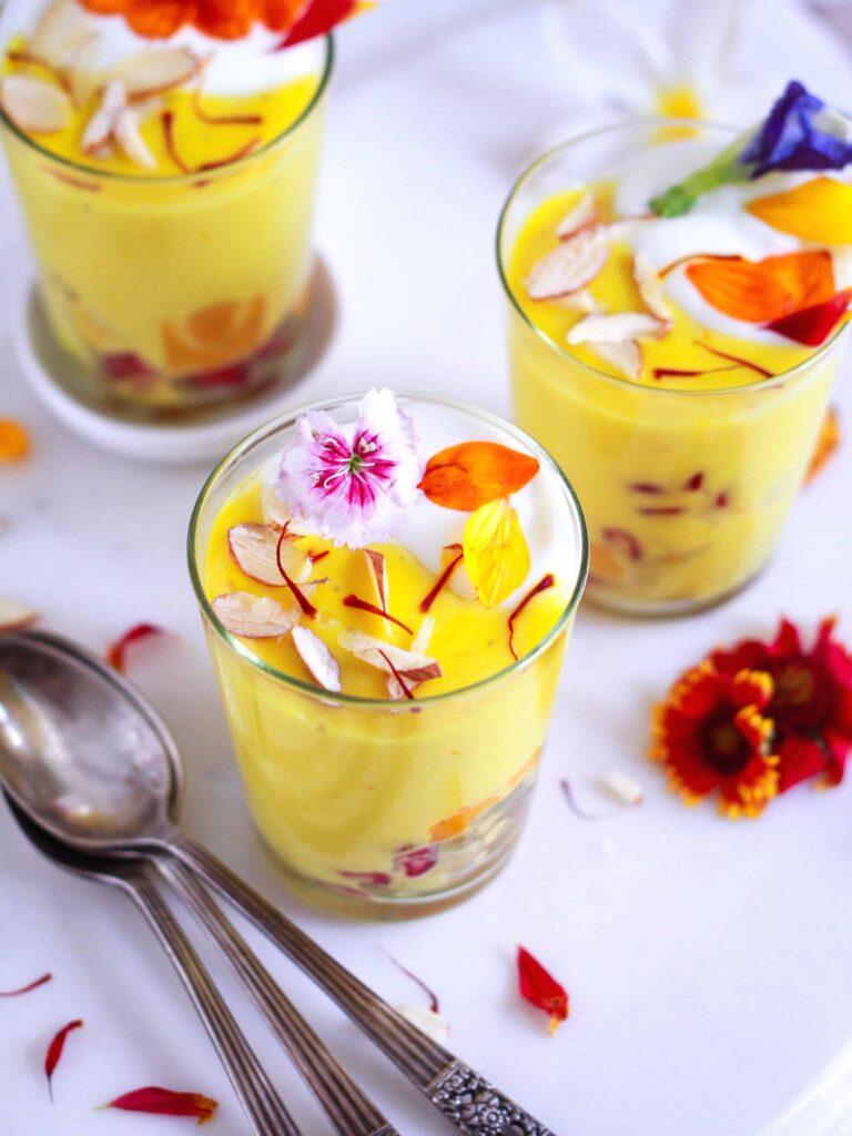 Eggless Saffron Custard easy festive recipe