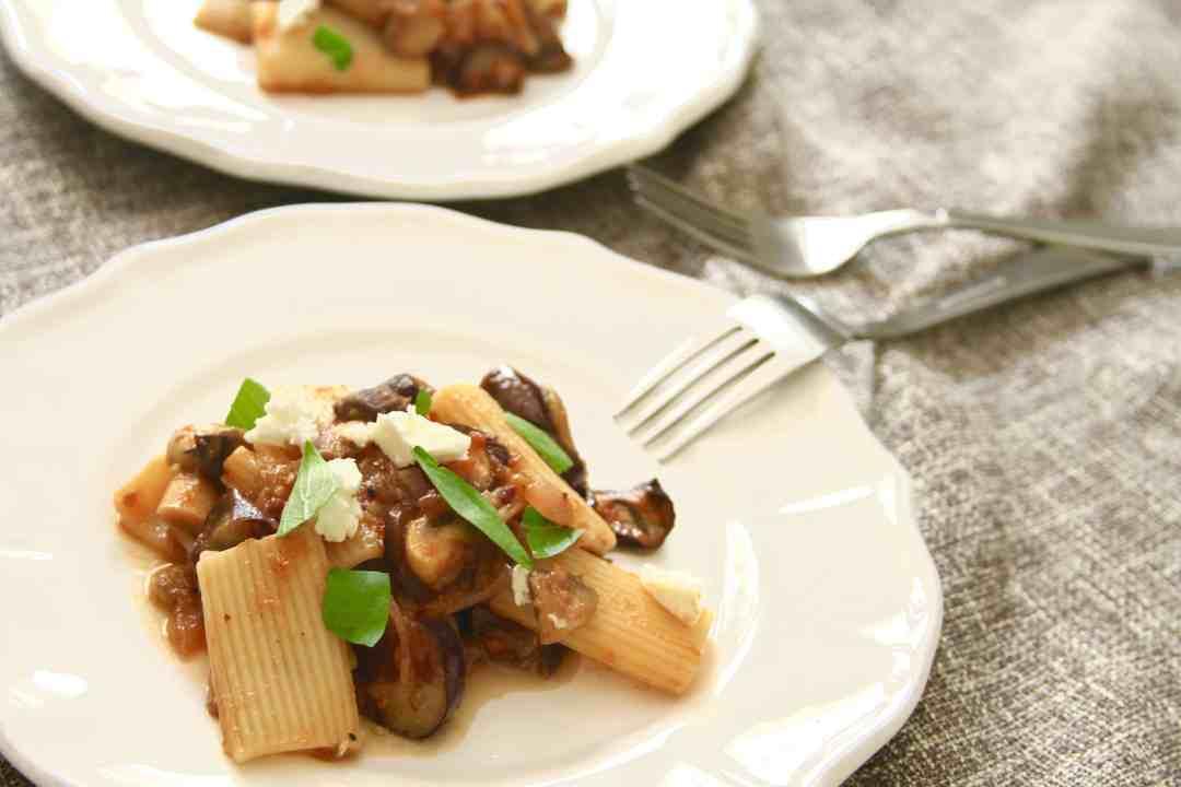Roasted Eggplant & Mushroom Pasta w/ Caramelized Onions