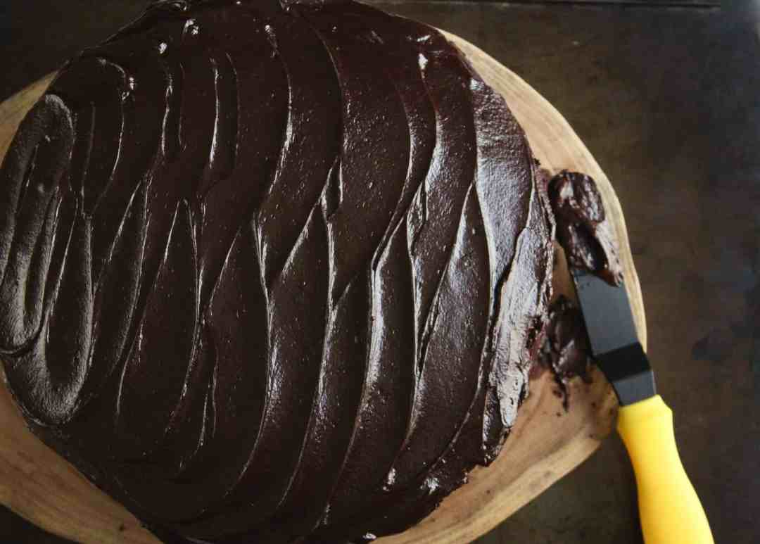 Buckwheat Chocolate Layer Cake w/ Salted Dark Chocolate Frosting