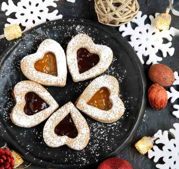 Almond Buckwheat LInzer Cookies