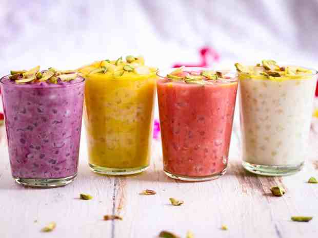 Sabudana Kheer ( sago pudding) with natural fruit flavourings