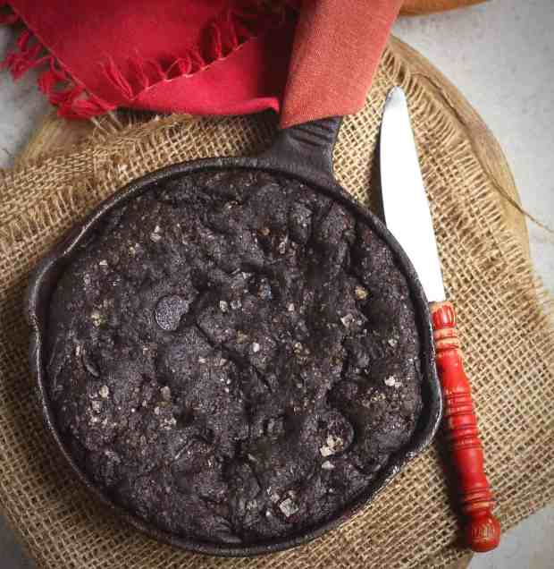 Fudgy Skillet Brownie, vegan, vegetarian, easy recipe, glutenfree