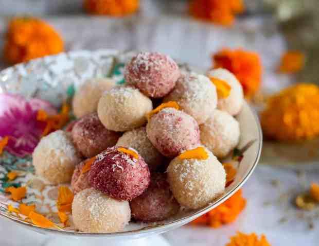 Easy Coconut Ladoo ( laddu), festive season, Diwali, dessert, Indian dessert, Indian sweets, Indian foods