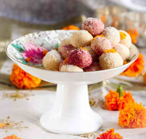 Easy Coconut Ladoo ( laddu), vegetarian, festive season, Diwali, dessert, sweet, Indian dessert