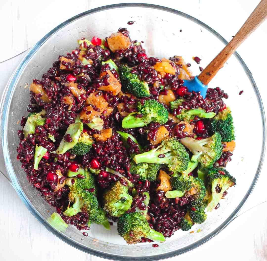 Warm Black Rice Broccoli Pumpkin Salad vegan, healthy, glutenfree, Thanksgiving, Christmas, Easy entertaining