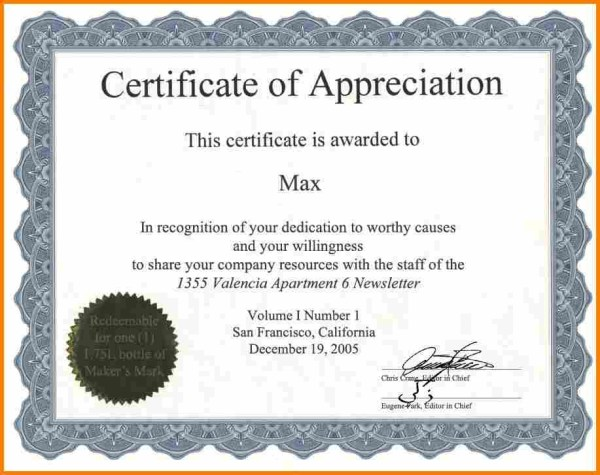 Certificate Of Appreciation Wording task list templates