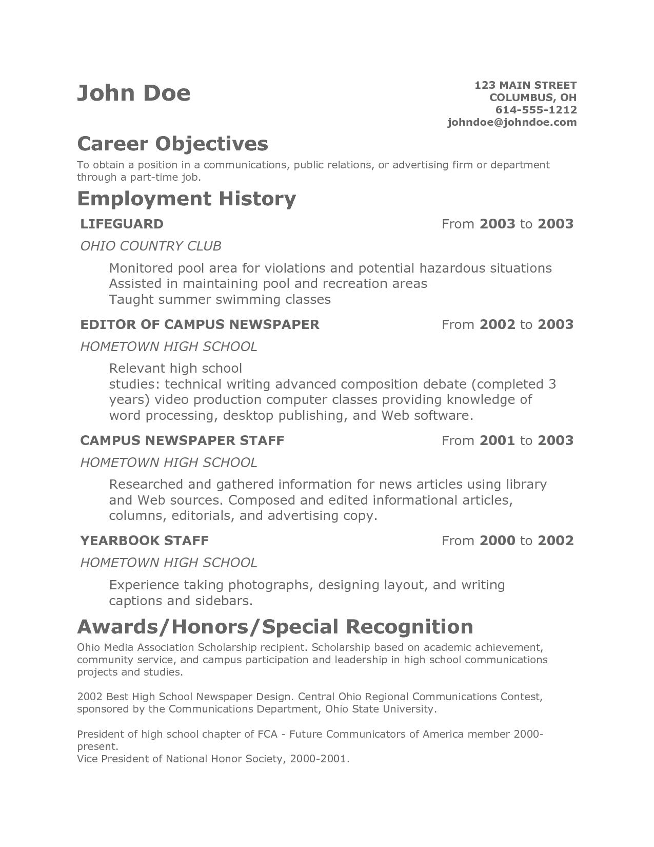 Teenage Resume Template