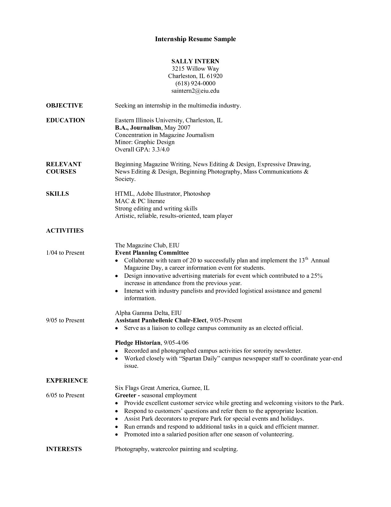 Internship Resume Sample For College Students Best Resume Examples