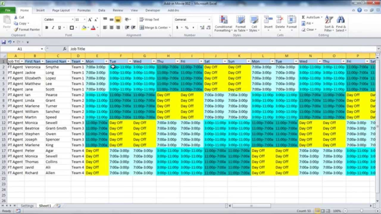 All you wish to have to make a weekly, day by day, or per 30 days agenda in excel. 36 Hour Week Working Day Calendar