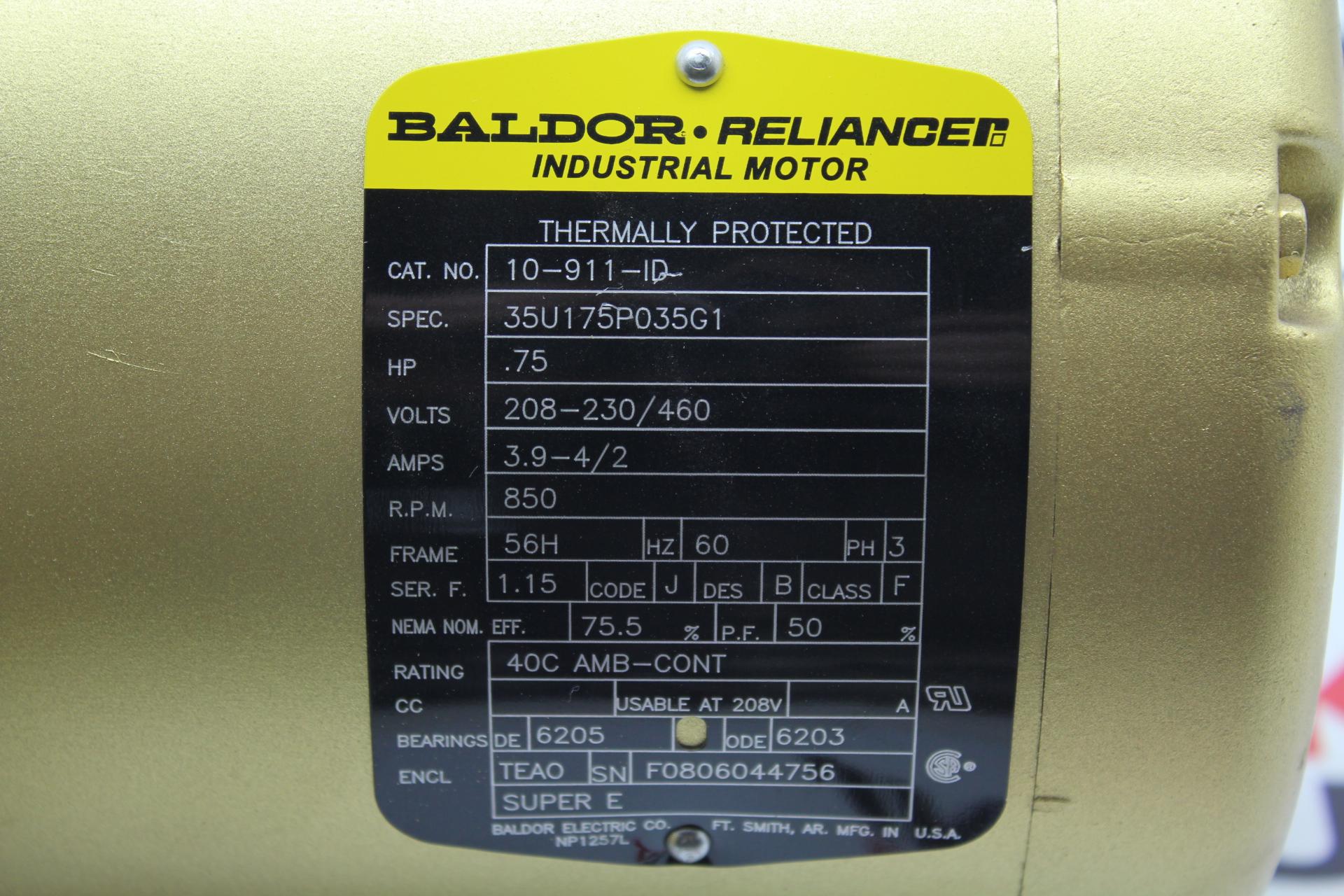 Baldor Reliance  75 Hp  850 Rpm  56h Frame  208 460