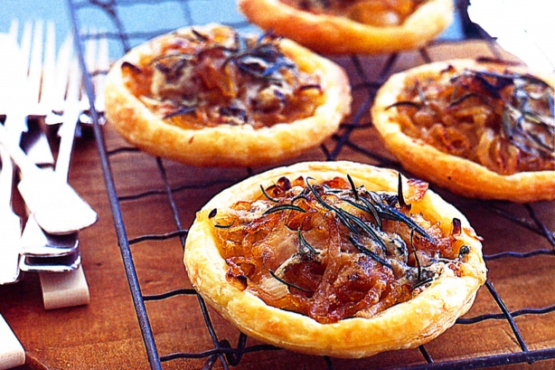 Caramelised onion and blue cheese tarts