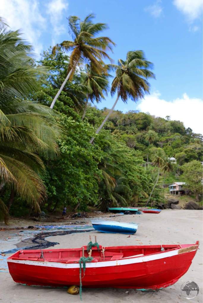 Boats on the beach in Grenada.