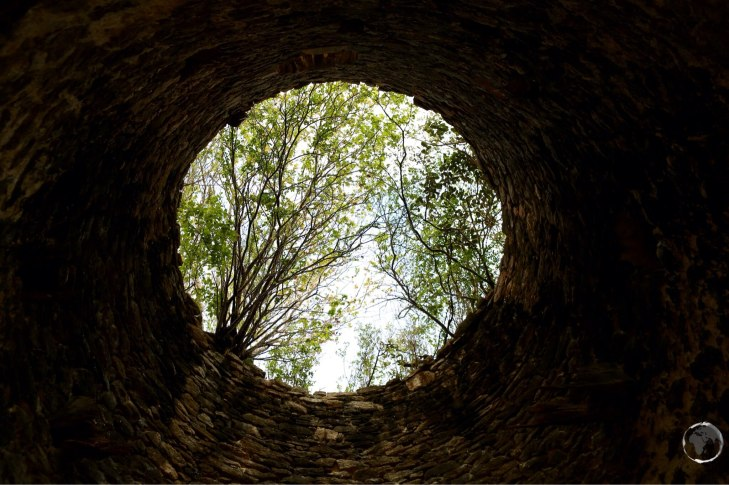 View from inside a ruined windmill foundation on Carriacou Island.