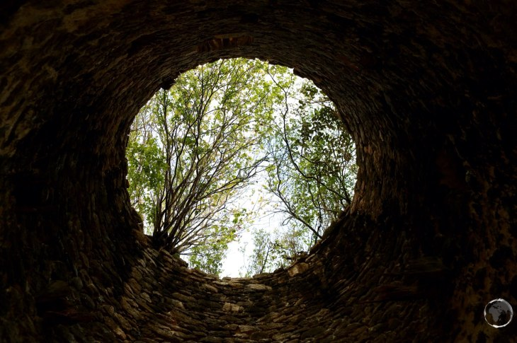 View from inside a ruined windmill foundation