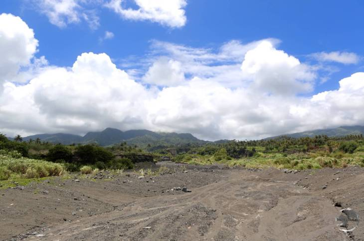 Lava flow from La Soufrière volcano.