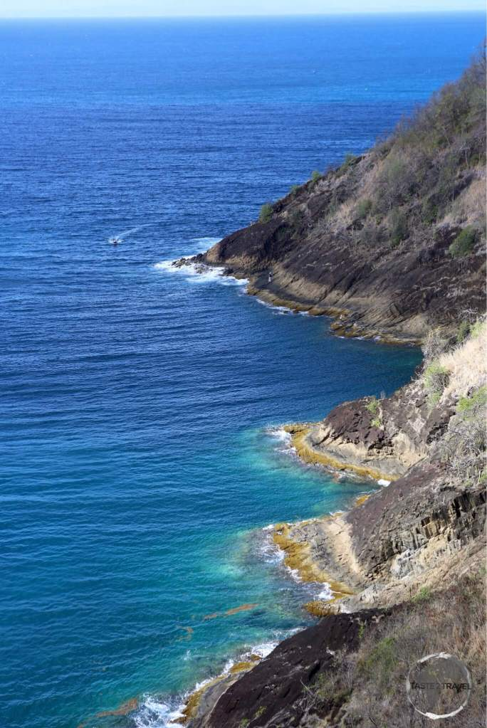 View of the north-west coast of St. Lucia from Fort Rodney.