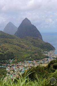 Saint Lucia Travel Guide: View of Soufrière with the Pitons