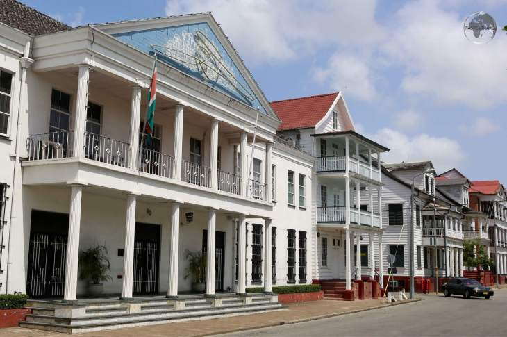 Dutch-style colonial buildings in the UNESCO-listed old town of Paramaribo.