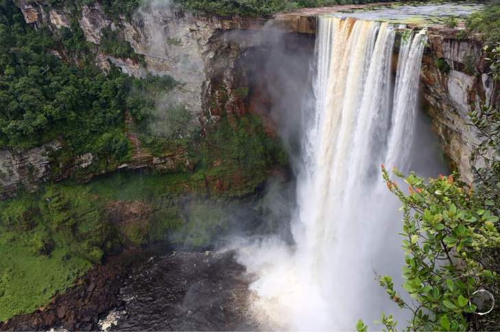 The majestic Kaieteur Falls are located in the remote rainforest of Guyana.
