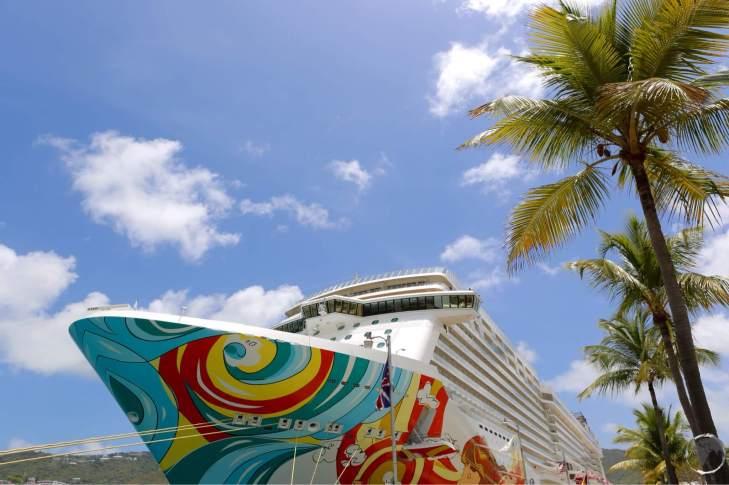 Cruise ship anchored at Charlotte Amalie, St. Thomas.