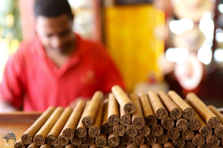 Freshly rolled cigars at the Boutique del Fumador, Santo Domingo.
