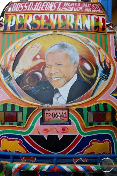 A 'Tap-Tap' in Port-au-Prince pays tribute to Nelson Mandela.