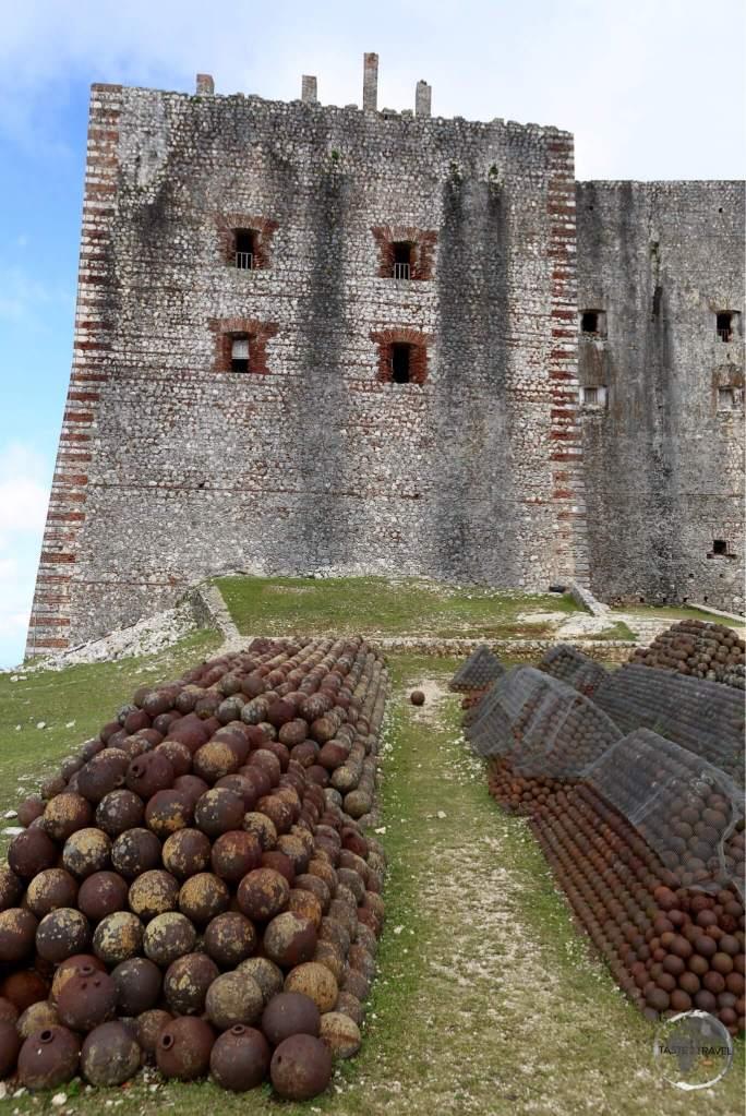 Rusty cannon balls outside the Citadelle Laferrière, near Milot.