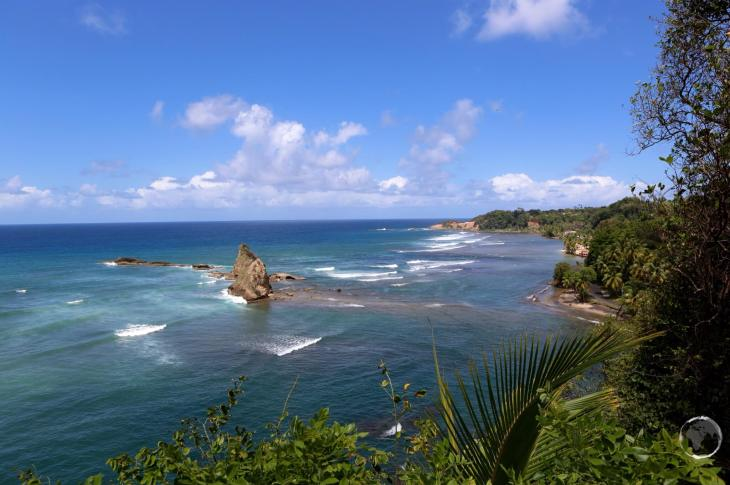 A panoramic view of the east coast of Dominica, north of Calibishe.