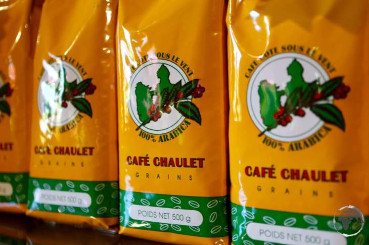 Coffee beans for sale at Cafe Chaulet, Basse-Terre.