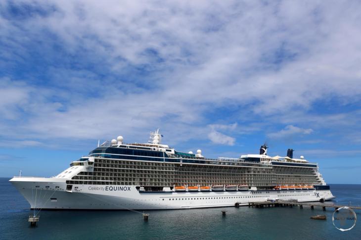 A cruise ship docked at Roseau.