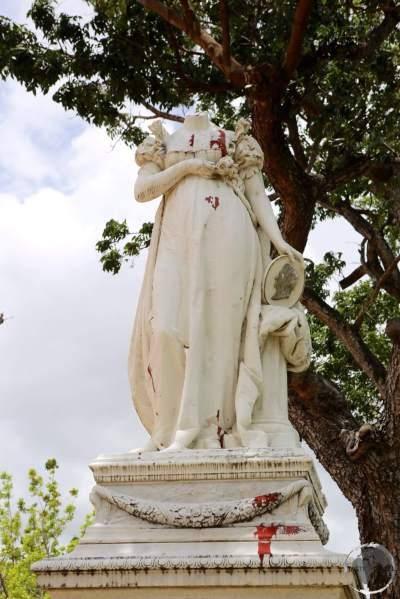 A vandalised statue of Martinique-born Empress Josephine, the wife of Napoleon Bonaparte