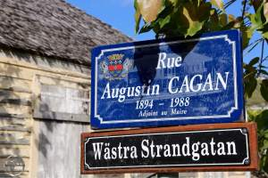 All street signs in Gustavia are in Swedish and French