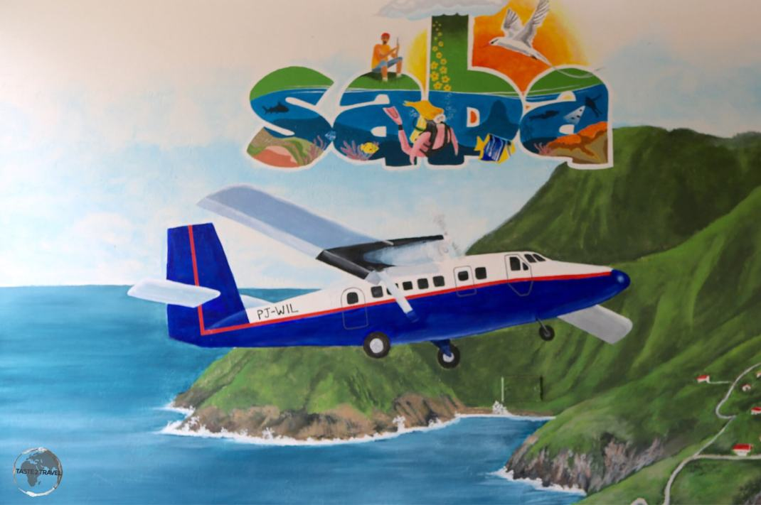 Artwork at Saba airport.