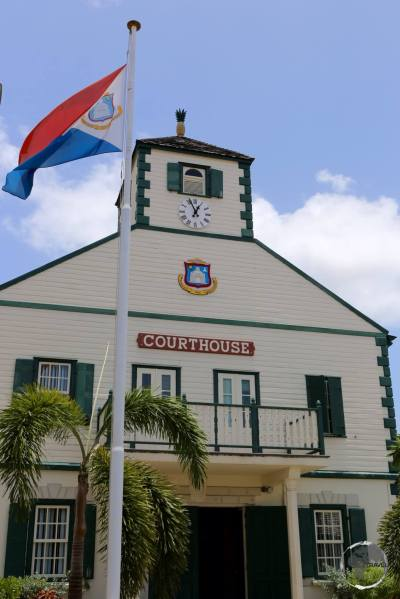 The historic Philipsburg Court House, the centre of the capital of Sint Maarten.