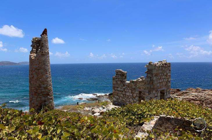 British Virgin Islands Travel Guide: Ruins from a former copper mine in the Copper Mine National Park, Virgin Gorda, BVI.