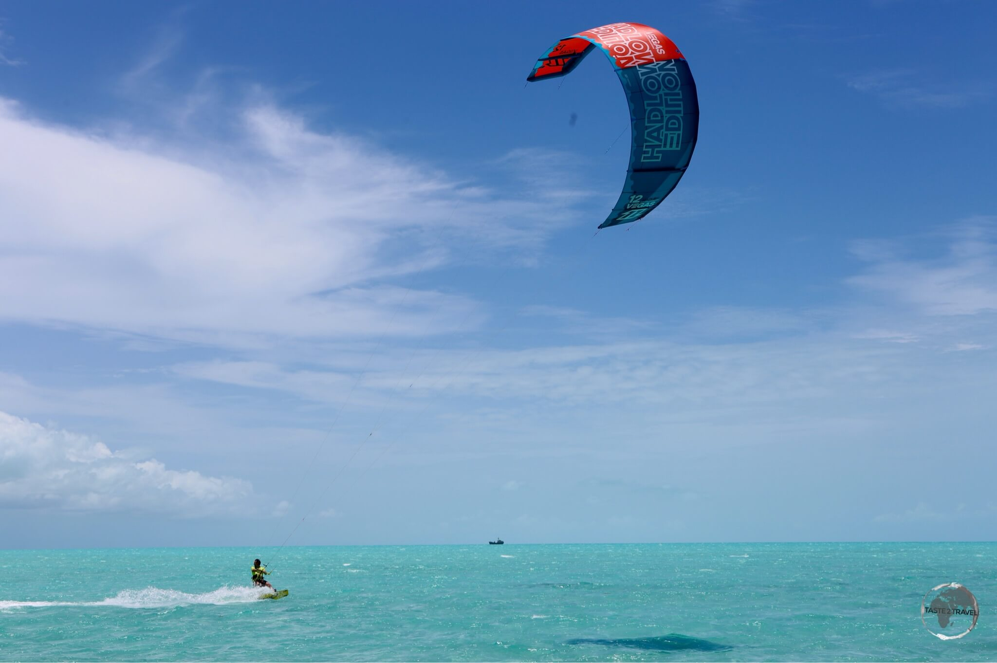 Kite-boarding is a popular activity on windy Long Bay.