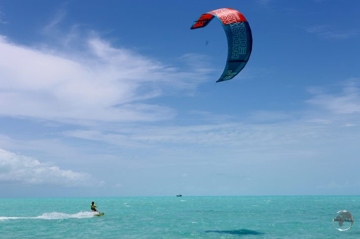 Kite surfing is a popular activity on windy Long Bay.
