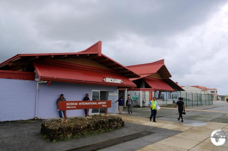 Arriving at Kosrae airport.