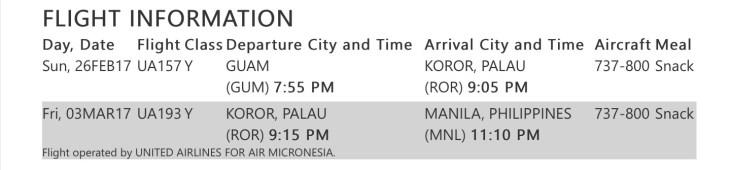Itinerary - Guam to Manila.
