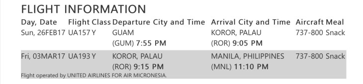 United Airlines' Itinerary from Guam to Manila.
