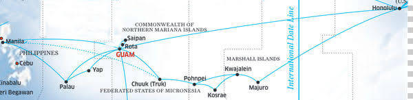 United Airlines' Micronesia routes, formerly operated by Continental Micronesia.