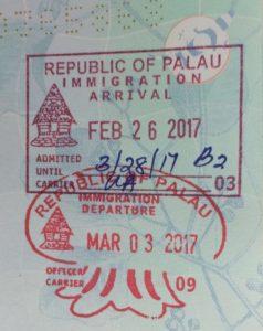 Palau passport stamps